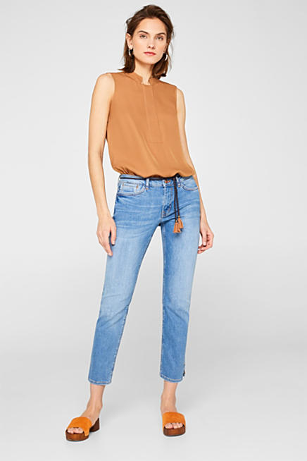 efeac031c7 Ankle-length stretch jeans with a tie-around belt