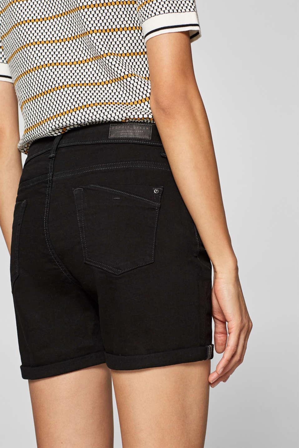 Stretch denim shorts containing organic cotton, BLACK, detail image number 3