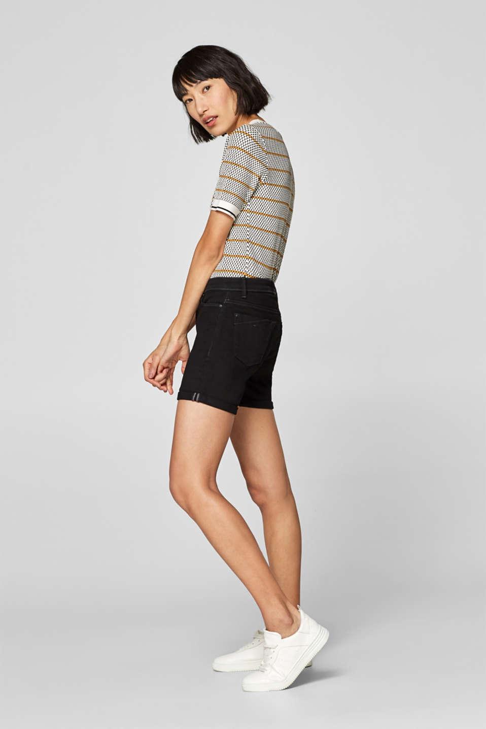 Stretch denim shorts containing organic cotton, BLACK, detail image number 5