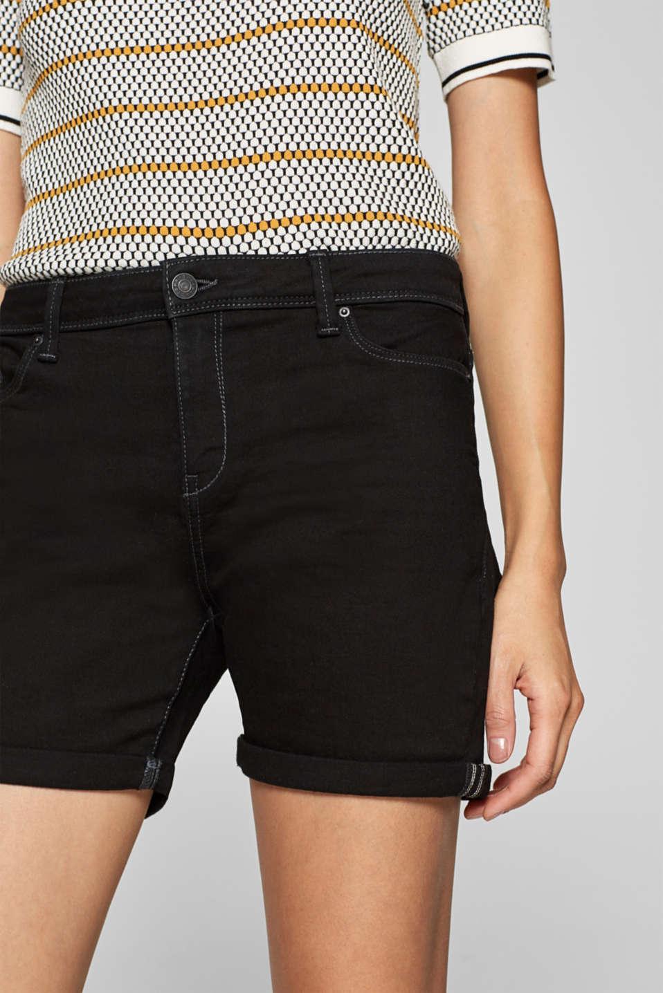 Stretch denim shorts containing organic cotton, BLACK, detail image number 2