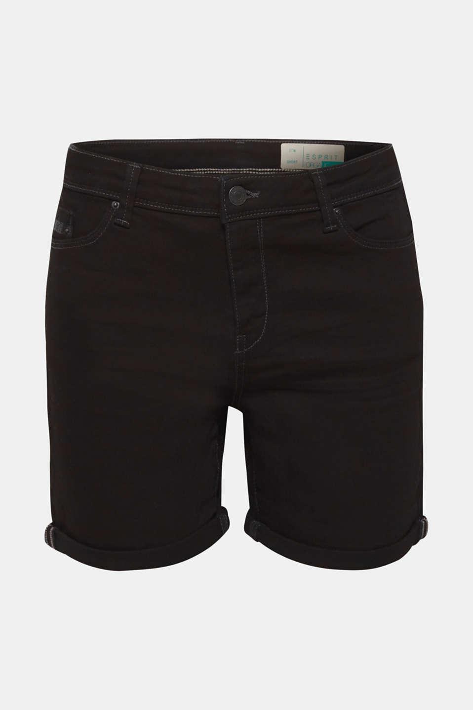 Stretch denim shorts containing organic cotton, BLACK, detail image number 7
