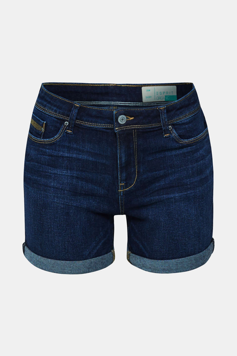 Stretch denim shorts containing organic cotton, BLUE DARK WASH, detail image number 7