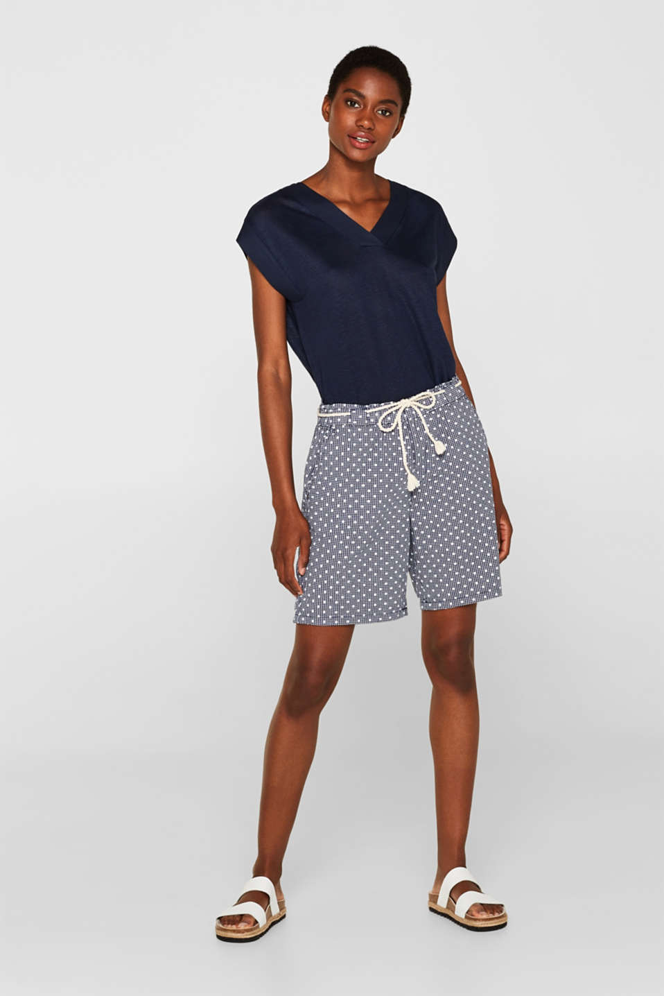 Esprit - Checked shorts with a polka dot print, 100% cotton