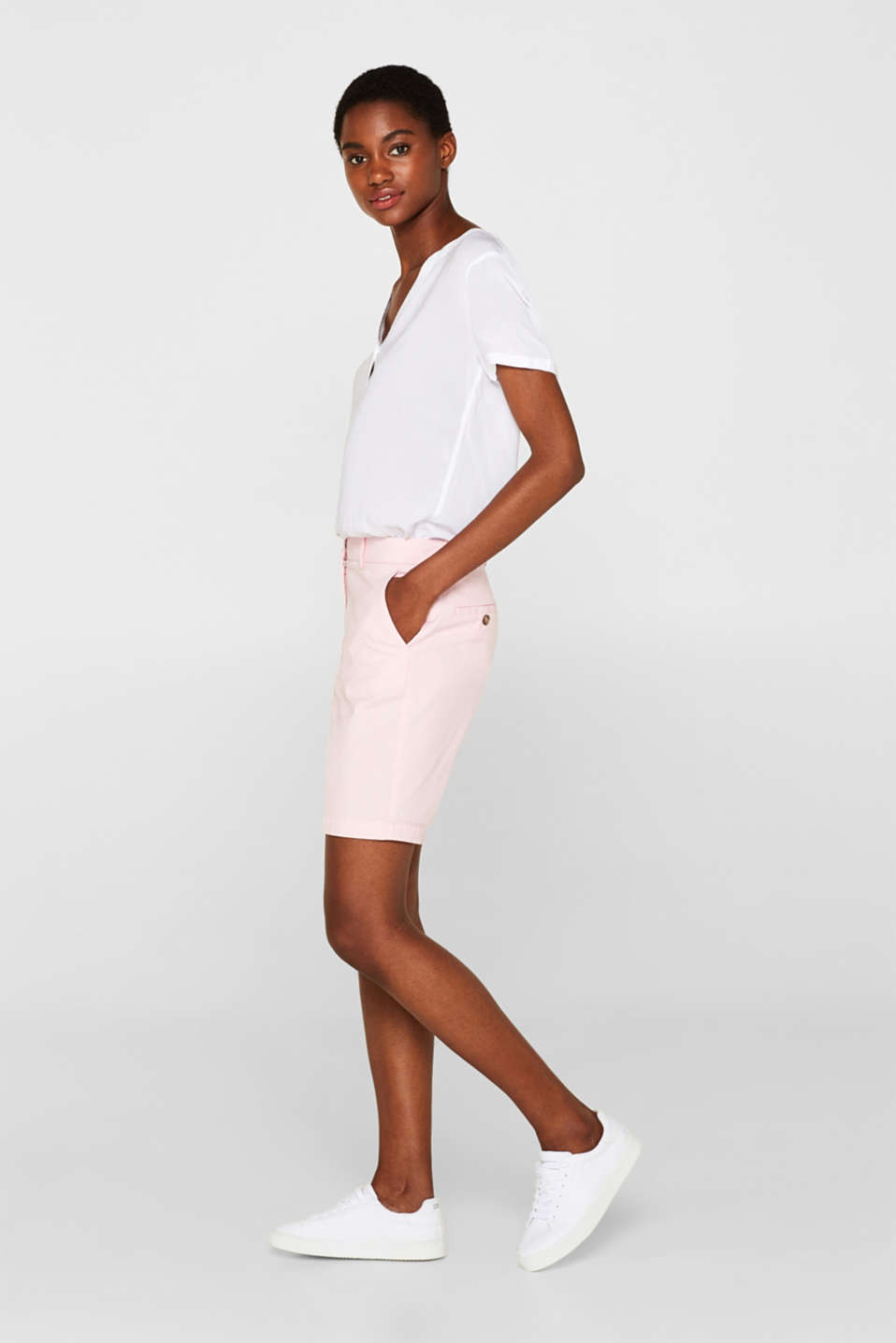 Esprit - Short en coton stretch finement texturé