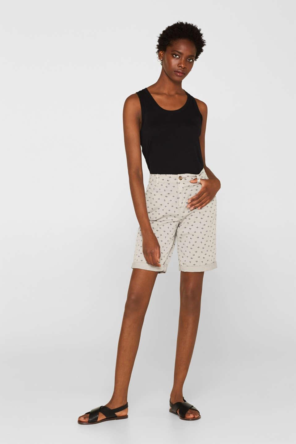 Printed Bermuda shorts in stretch cotton