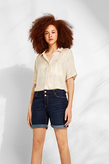 677cef53dc28 Stretch denim shorts with button-fastening flap pockets