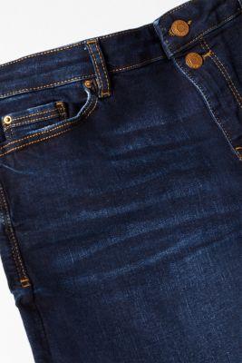 Stretch denim shorts with button-fastening flap pockets