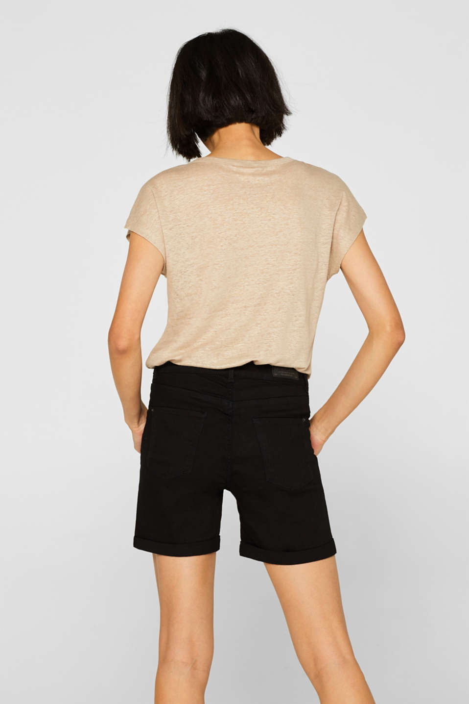 Stretch denim shorts with roll-up cuffs, BLACK, detail image number 3