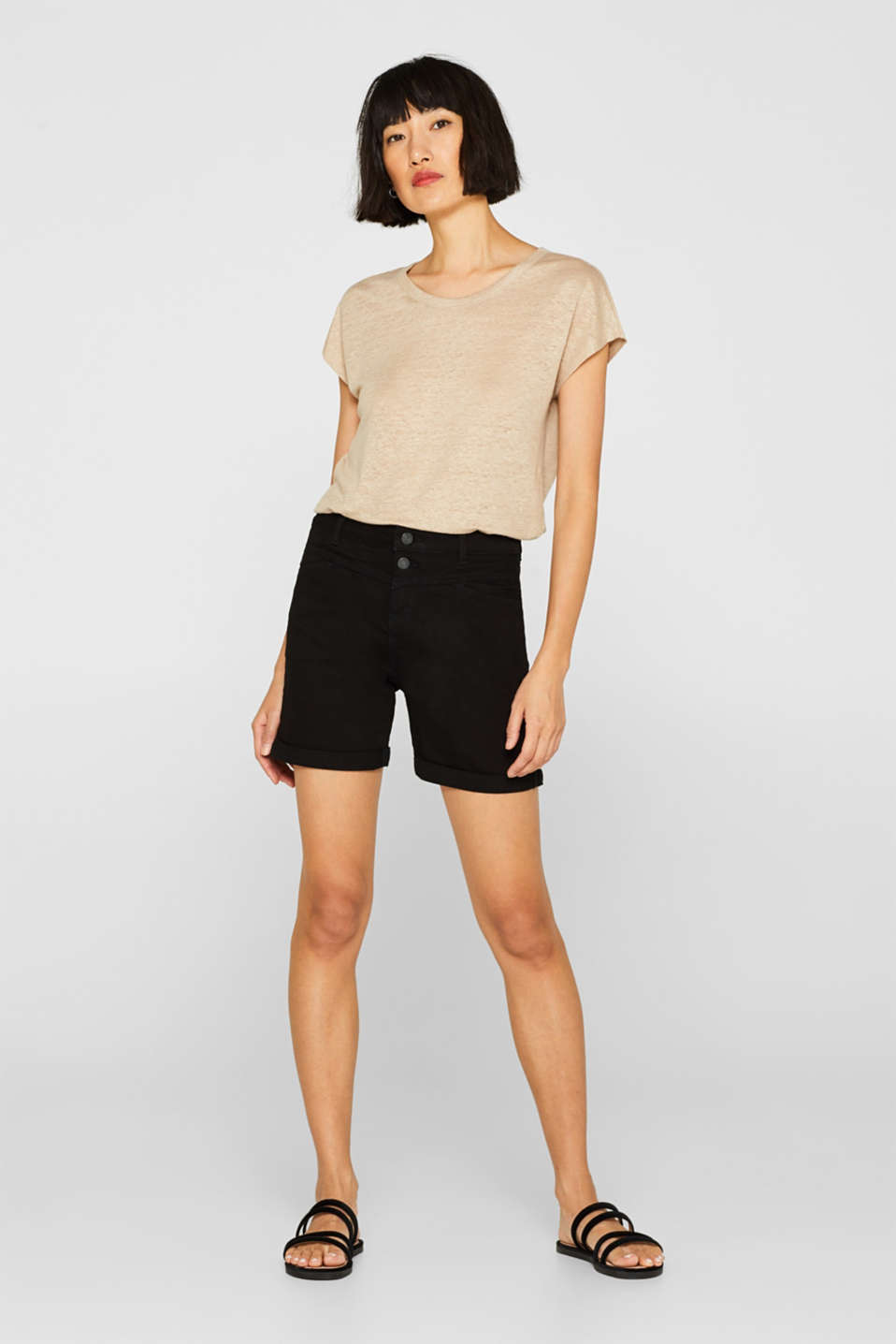 Stretch denim shorts with roll-up cuffs, BLACK, detail