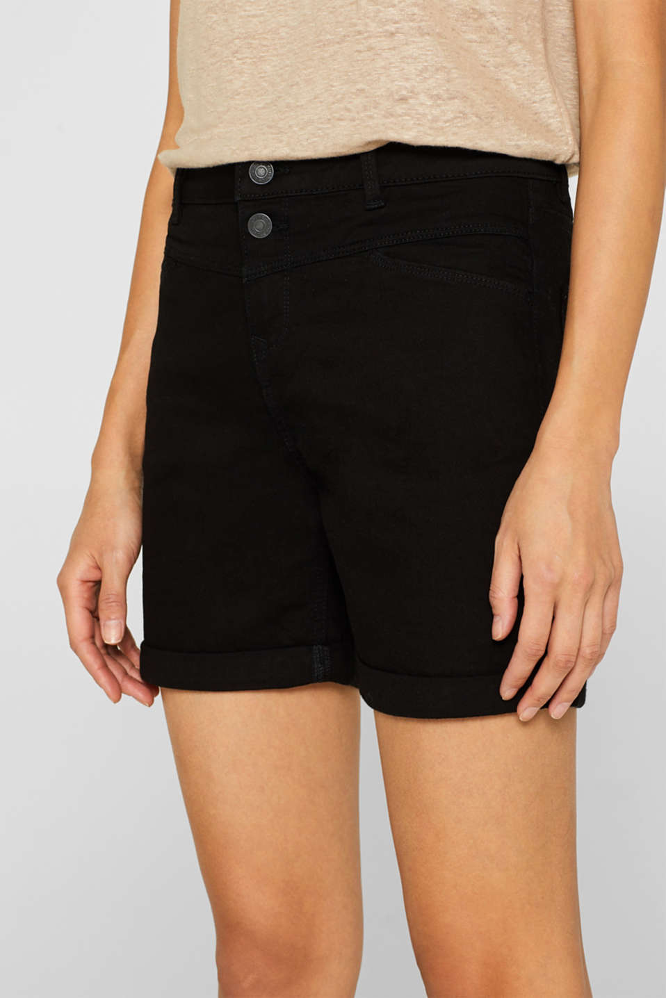 Stretch denim shorts with roll-up cuffs, BLACK, detail image number 2