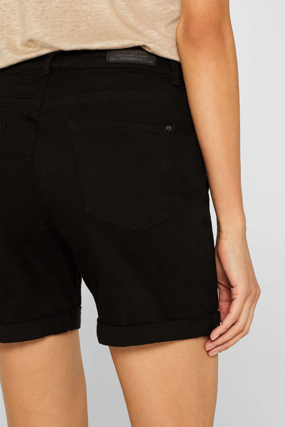 Stretch denim shorts with roll-up cuffs, BLACK, detail image number 5