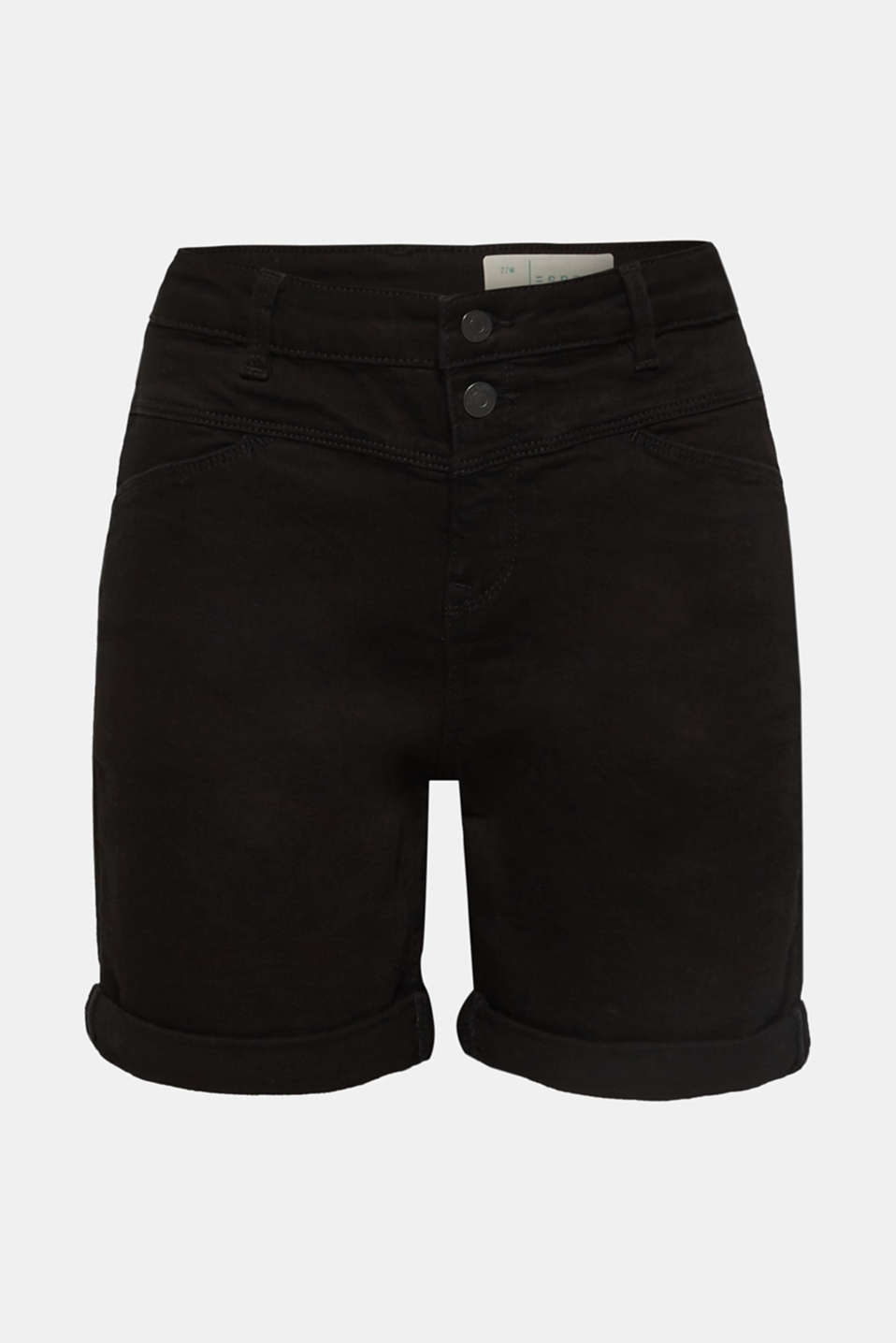 Stretch denim shorts with roll-up cuffs, BLACK, detail image number 7