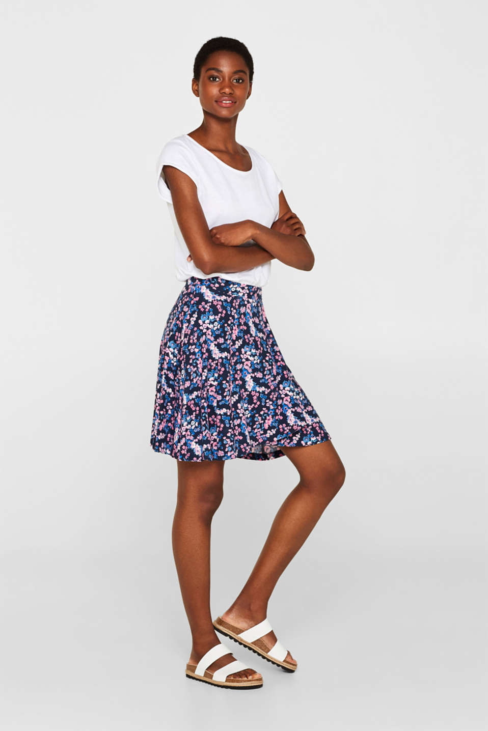 Esprit - Elasticated stretch jersey skirt with a print