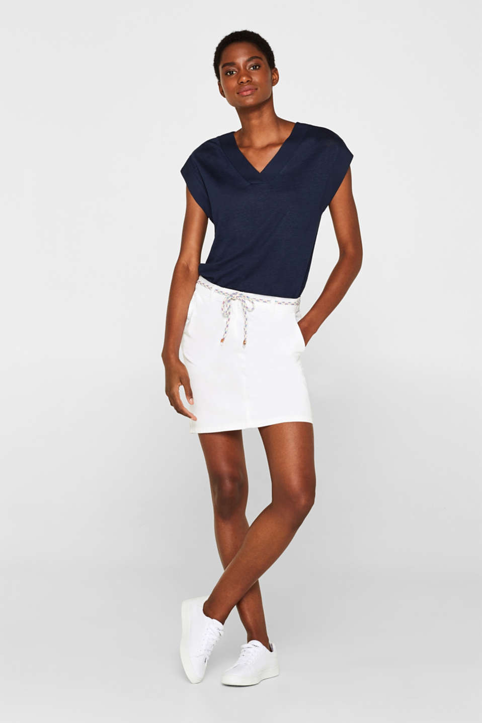 Esprit - Stretch cotton twill skirt with a woven belt
