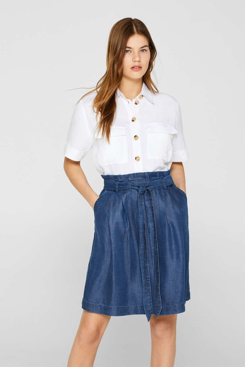 Esprit - Lyocell rok in denim look met paperbag band