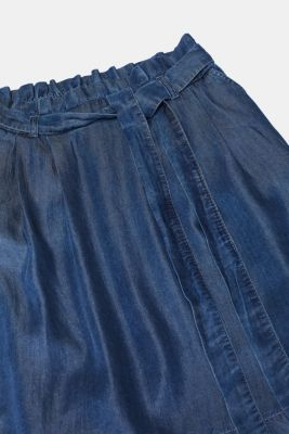 Denim-effect lyocell skirt with a paperbag waistband