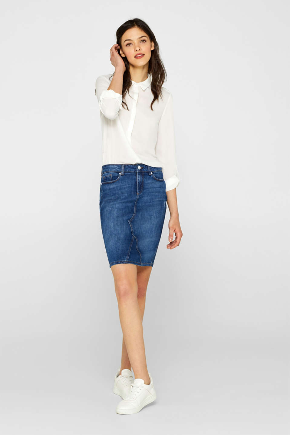 Esprit - Stretch denim skirt with organic cotton