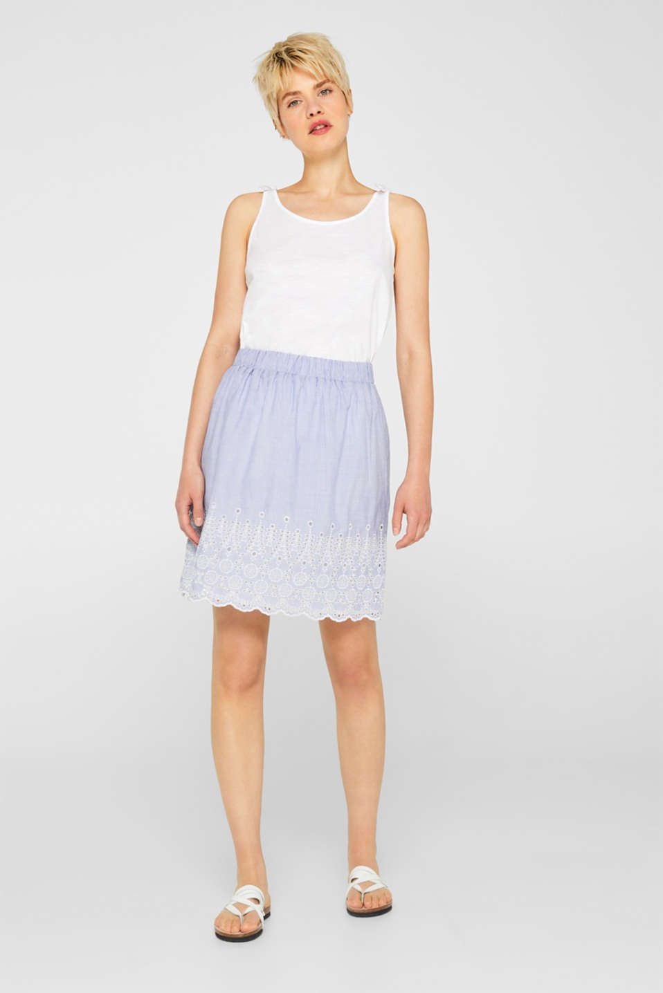 Broderie anglaise detail skirt, 100% cotton, LIGHT BLUE, detail image number 0