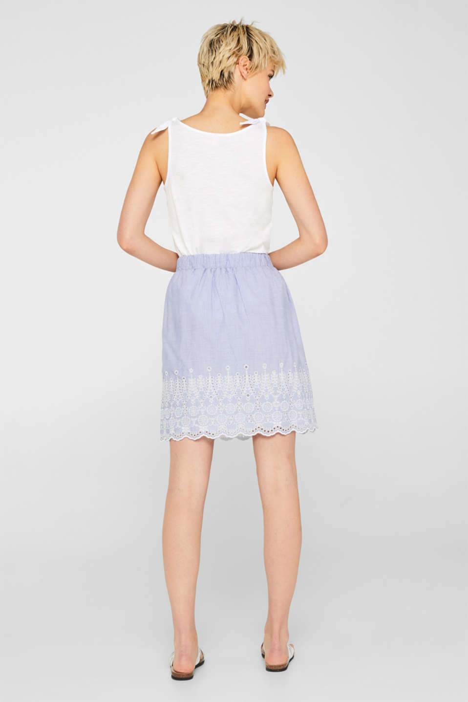 Broderie anglaise detail skirt, 100% cotton, LIGHT BLUE, detail image number 3