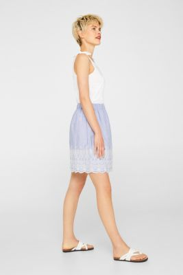 Broderie anglaise detail skirt, 100% cotton, LIGHT BLUE, detail