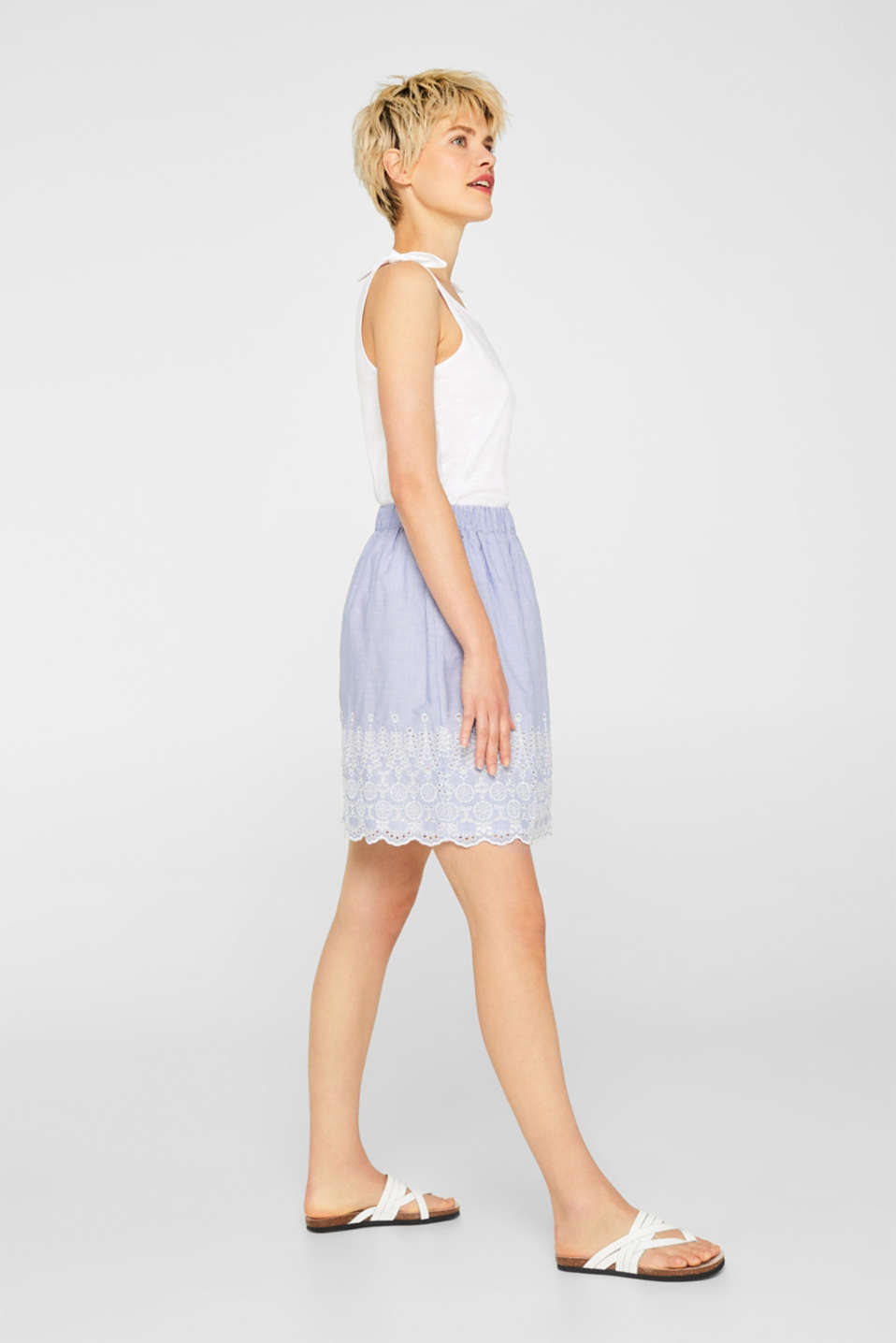 Broderie anglaise detail skirt, 100% cotton, LIGHT BLUE, detail image number 1