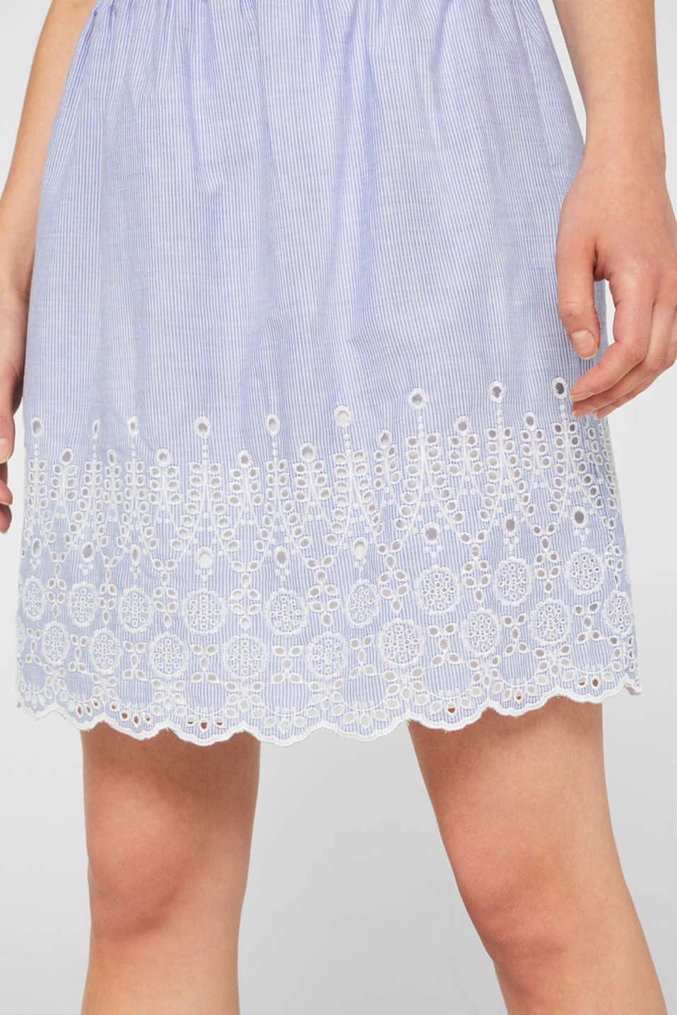 Broderie anglaise detail skirt, 100% cotton, LIGHT BLUE, detail image number 2