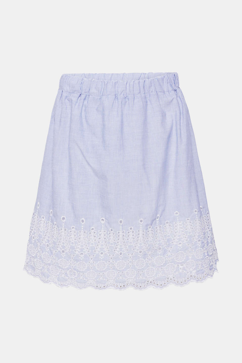 Broderie anglaise detail skirt, 100% cotton, LIGHT BLUE, detail image number 5