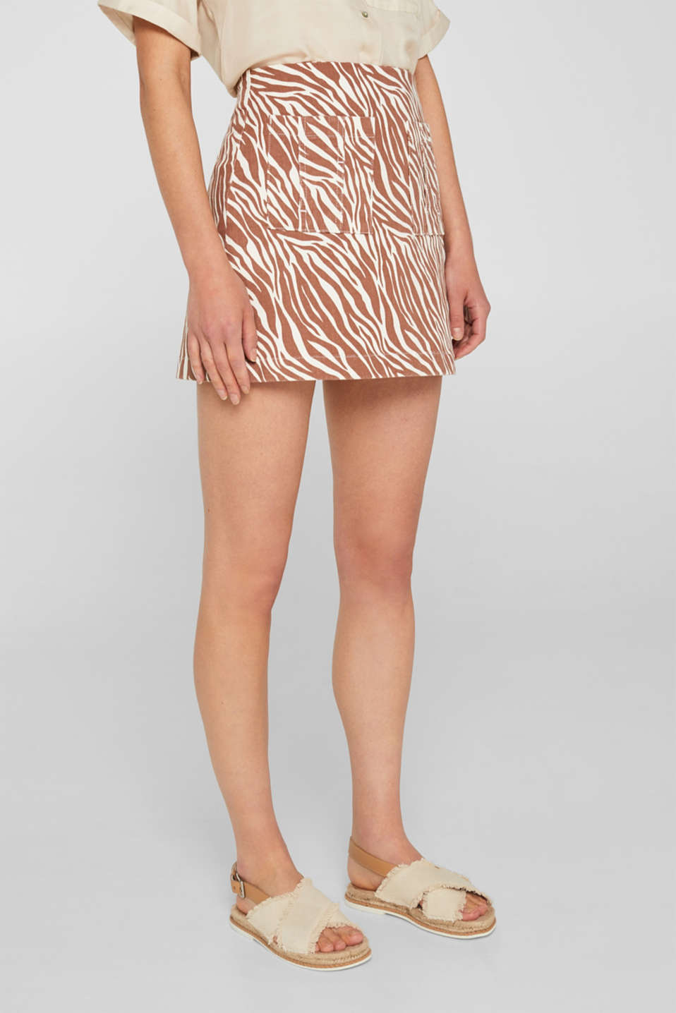 Stretch denim skirt with an animal print, BEIGE, detail image number 6