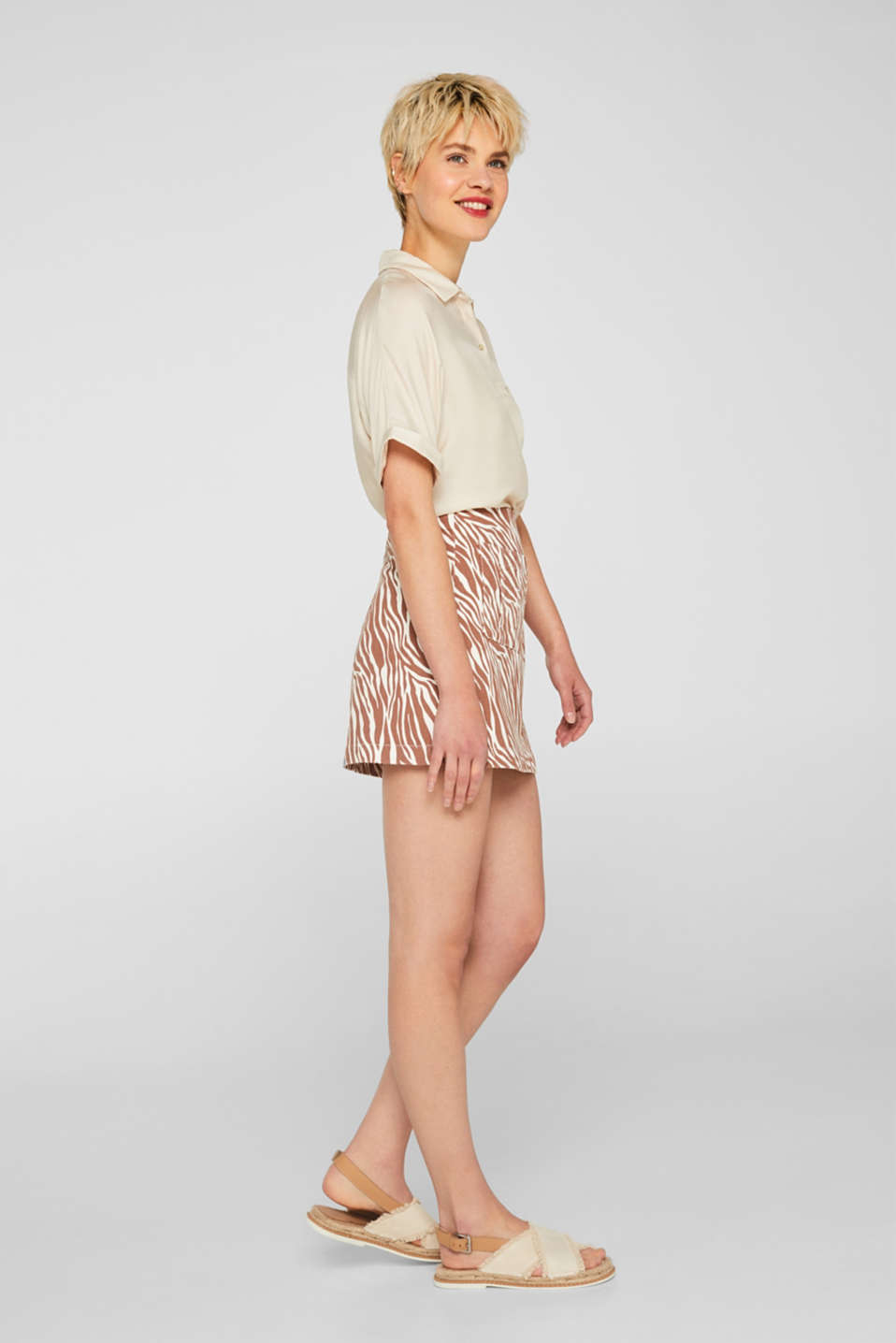 Stretch denim skirt with an animal print, BEIGE, detail image number 1