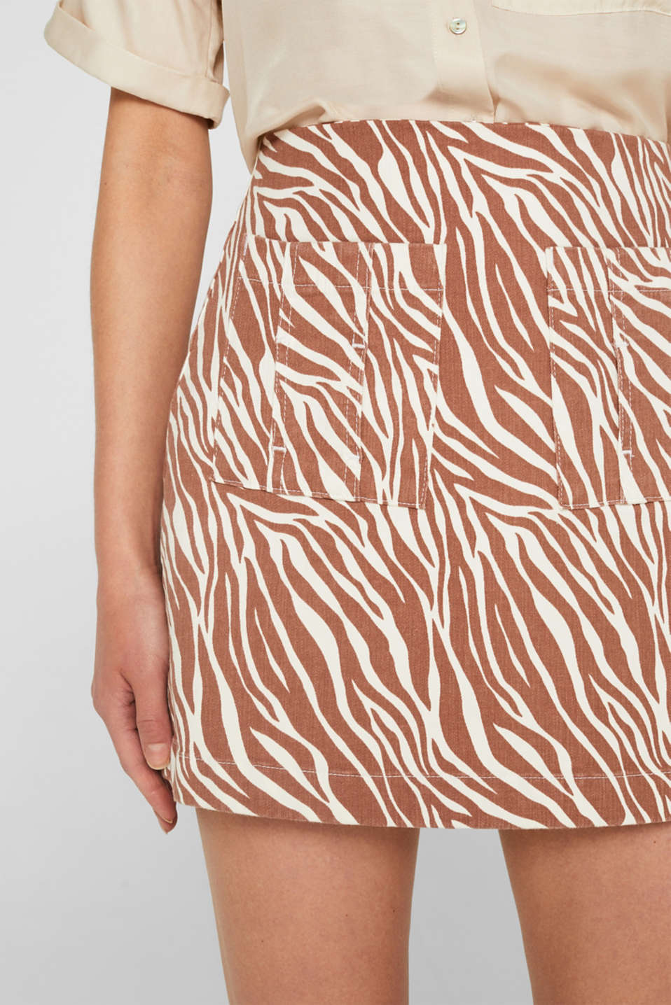 Stretch denim skirt with an animal print, BEIGE, detail image number 2