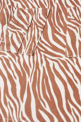 Stretch denim skirt with an animal print, BEIGE, detail