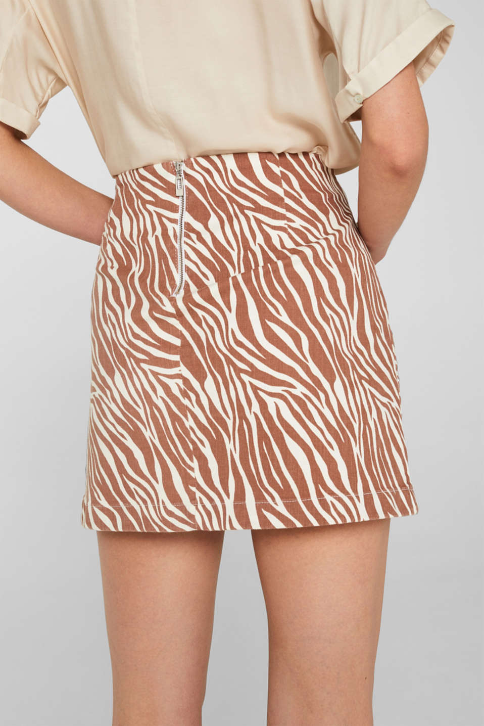 Stretch denim skirt with an animal print, BEIGE, detail image number 5