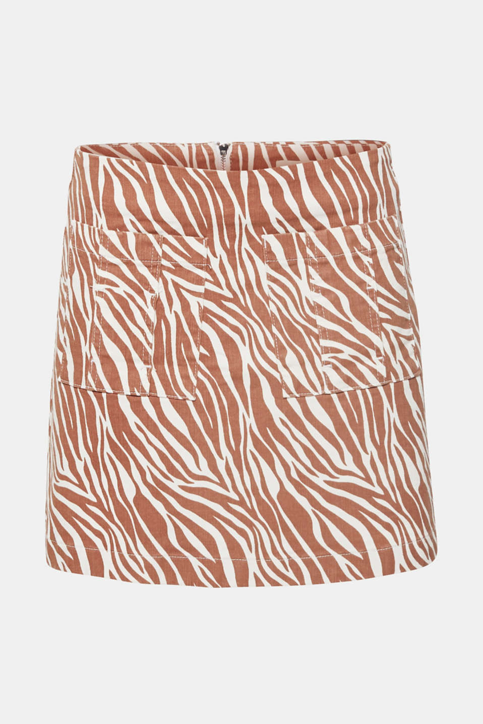 Stretch denim skirt with an animal print, BEIGE, detail image number 7