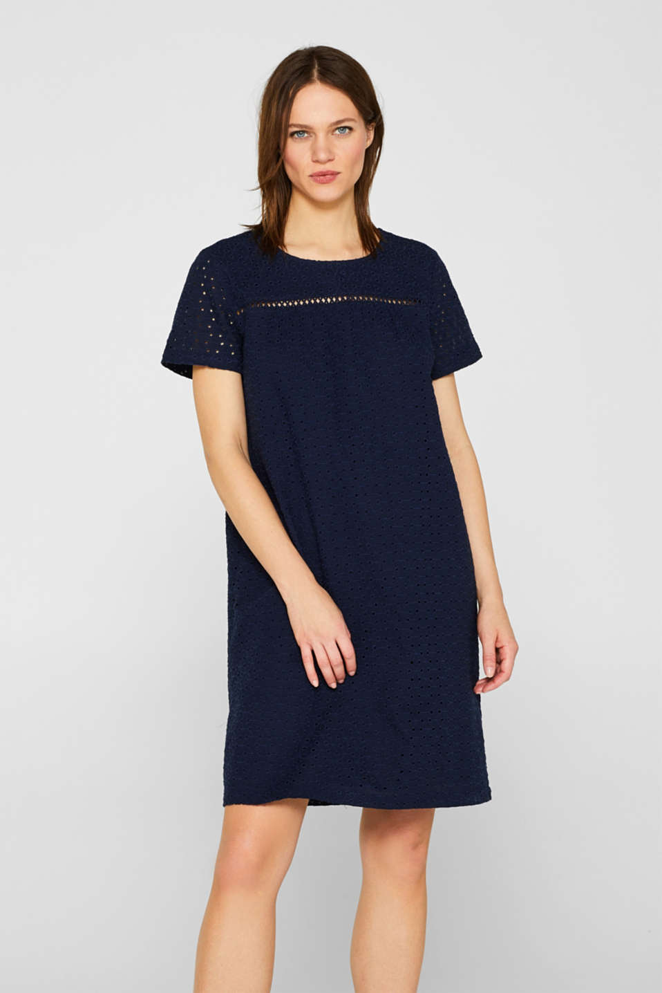 Esprit - Cotton dress with broderie anglaise