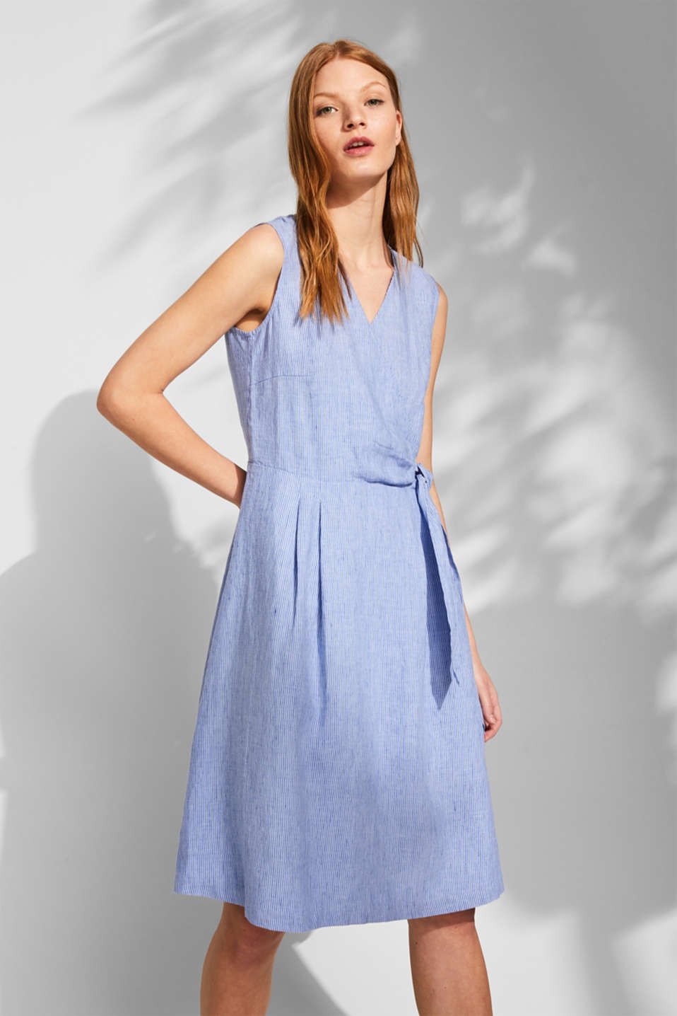 Esprit - 100% linen: Striped dress with a wrap-over effect