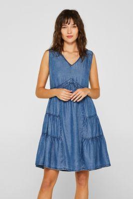 a1c47baea260 Esprit - A-linje-klänning i denimlook, 100% lyocell i Esprits Online ...