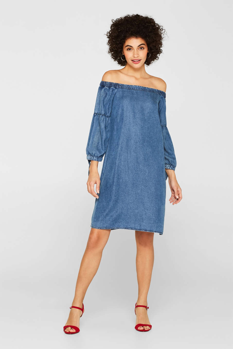 Off-the-shoulder dress in a denim look with bows, GREY BLUE, detail