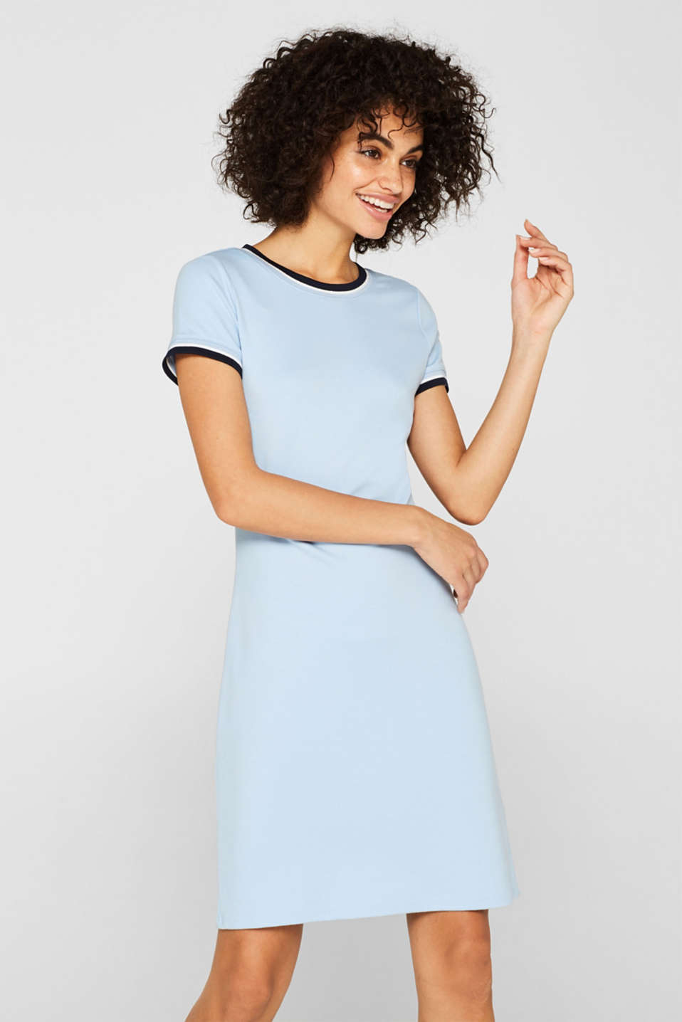 Esprit - Stretch jersey dress with contrasting stripes