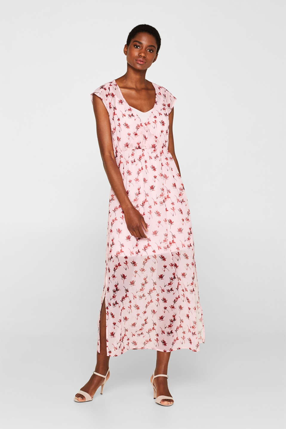Esprit - Printed chiffon dress with slip