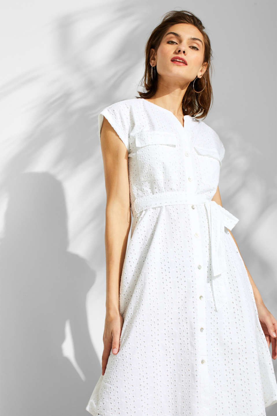 Esprit - Shirt dress with broderie anglaise, 100% cotton