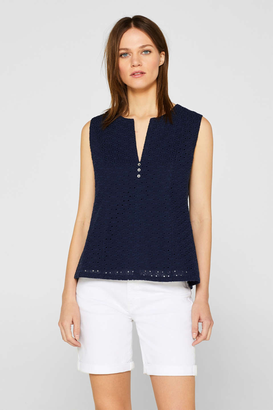 Esprit - Fitted blouse top with broderie anglaise