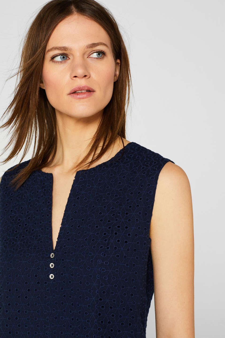 Fitted blouse top with broderie anglaise