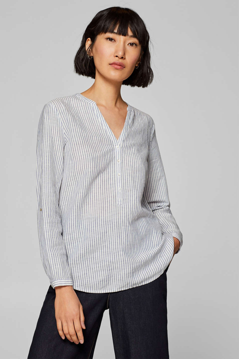Esprit - Made of blended linen: Henley blouse with stripes
