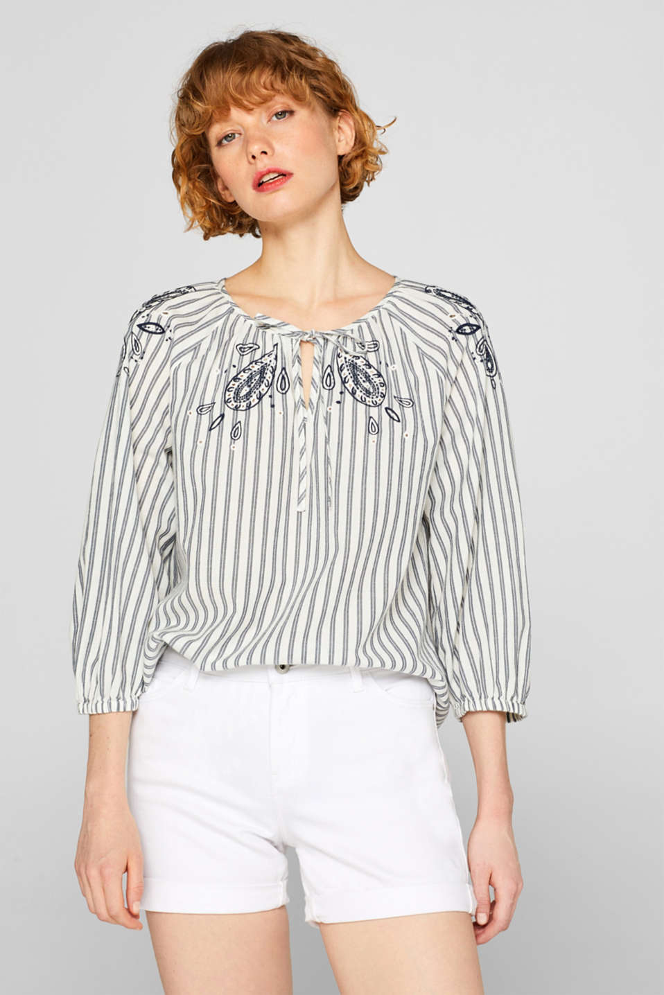 Esprit - Embroidered tunic blouse, 100% cotton