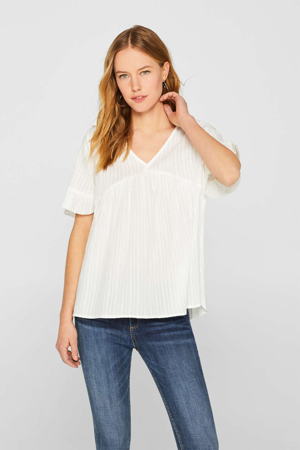 Esprit - Tunic blouse with woven texture, 100% cotton