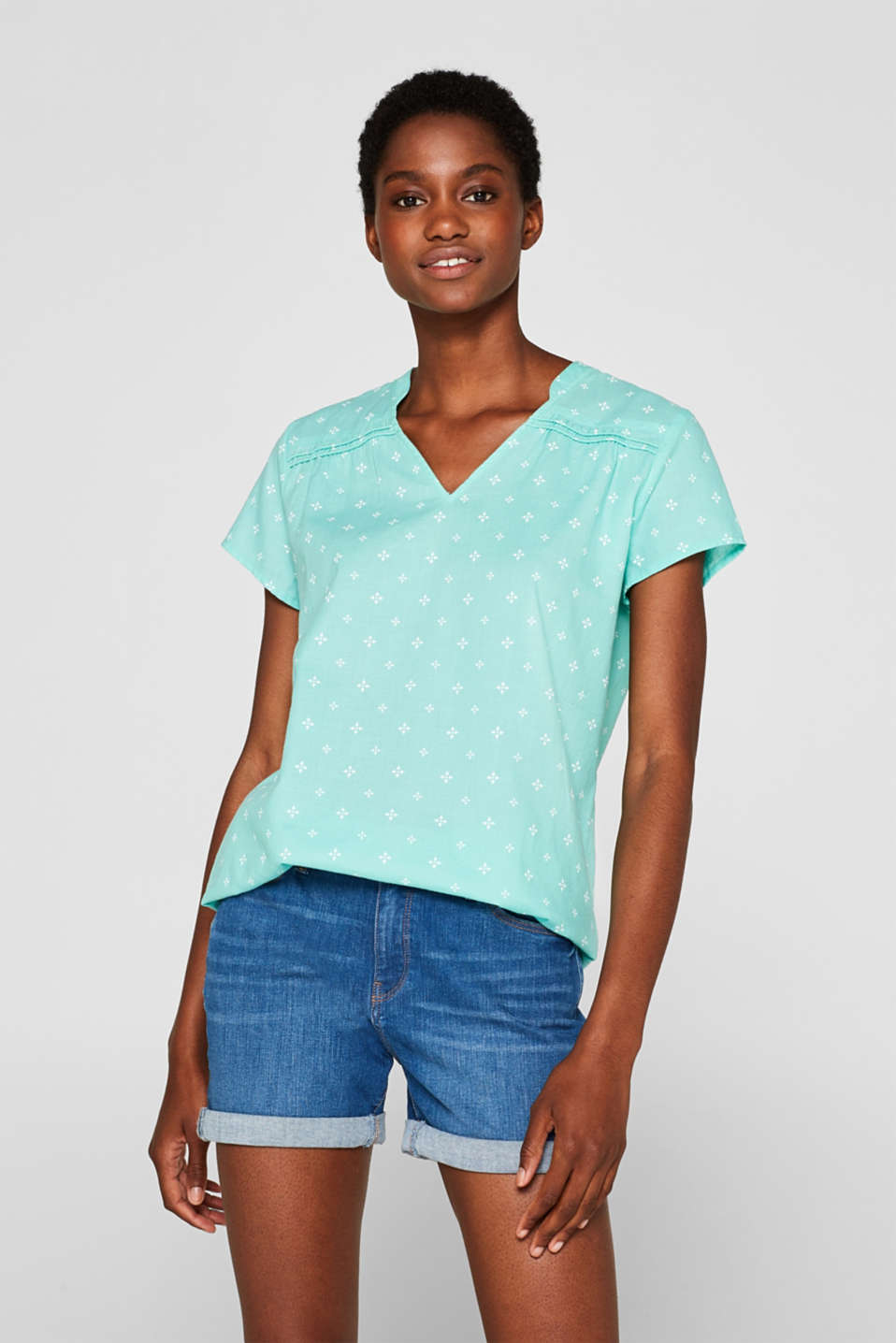 Blouse top with a beautiful neckline, 100% cotton, TURQUOISE, detail image number 0