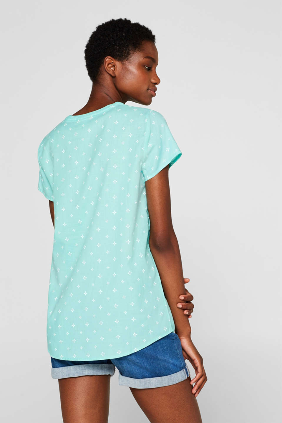 Blouse top with a beautiful neckline, 100% cotton, TURQUOISE, detail image number 3