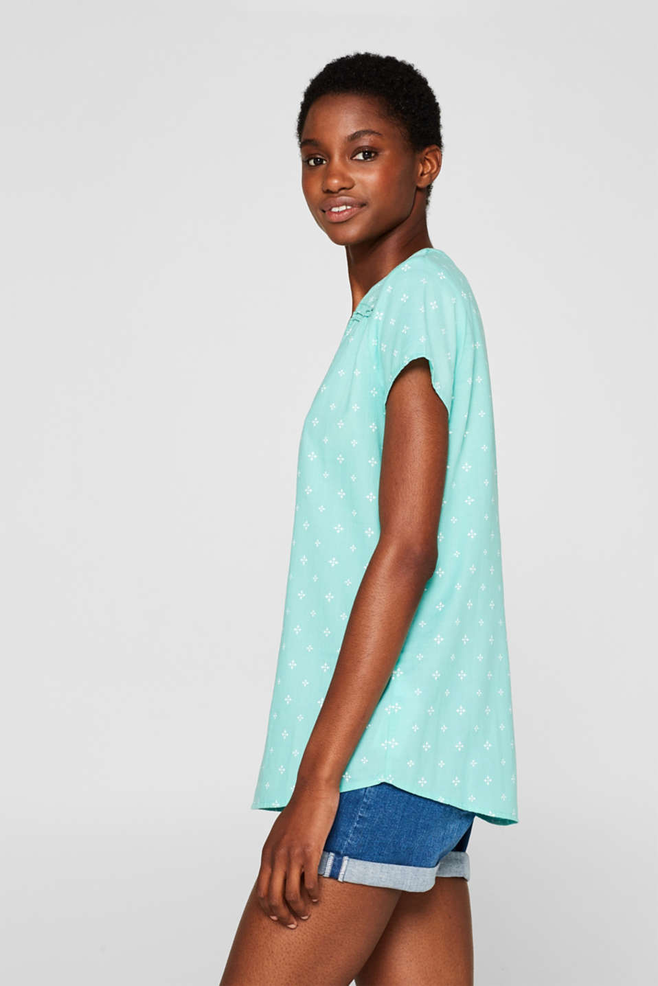 Blouse top with a beautiful neckline, 100% cotton, TURQUOISE, detail image number 5