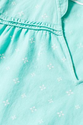 Blouse top with a beautiful neckline, 100% cotton, TURQUOISE, detail