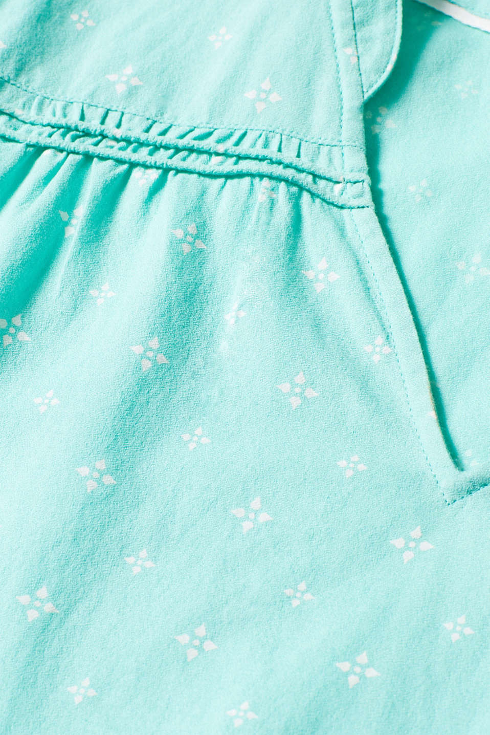 Blouse top with a beautiful neckline, 100% cotton, TURQUOISE, detail image number 4